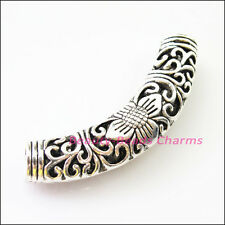 2Pcs Tibetan Silver Flower Wave Tube Spacer Beads Charms Connectors 55mm