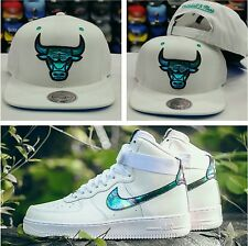 Matching Mitchell Ness Chicago Bulls Snapback Hat Nike Air Force 1 Iridescent