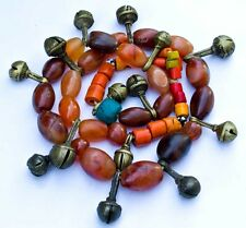 Antique Nagaland Carnelian and Brass Bell Tribal Necklace