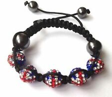 CHILDRENS GB UNION JACK FLAG SHAMBALLA BRACELET-5 DISCO BEADS-CZECH CRYSTAL-UK