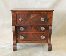 American Empire SALESMAN SAMPLE Mahogany Chest Glass Pulls Scroll Feet c1840's