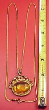 "Vintage Chain Amber Glass Roman Soldier Pocket Watch Fob 26"" Chain Charm Pendant"