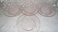 VINTAGE PINK DEPRESSION GLASS SALAD DESSERT PLATES ETCHED FLORAL PATTERN 4 PC.