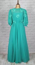 Vintage Dress Gown 80s Retro Victorian Style Evening Party Wedding Boho UK 12