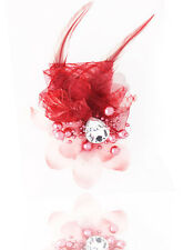 New 1pcs Headdress Flower Feather Rhinestone Hair Pin Brooch Clip wine red