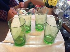 Set of 4 green drinking glasses