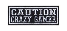 Caution Crazy Gamer Patch Aufnäher Badge Biker Heavy Rocker Bügelbild Kutte Stic