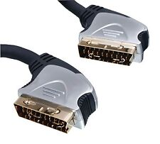 15m 21 Pin RGB Scart Lead Cable (Male Scart Plug to Male Scart Plug) Gold Plated