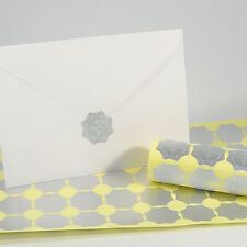 50/Pack Silver Scallope Foil Embossed Wedding Invitations Envelope Seal Stickers