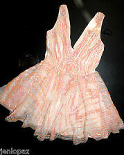 NWT Bebe coral pink sequin double v neck flare sequins mesh party top dress XXS