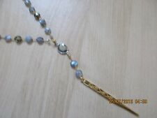 "CHAN LUU NWT 34""W/SEMI-PRECIOUS STONES &18KT GOLDPLATED DAGGER NECKLACE"