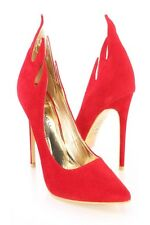 Red Flame Cut Pumps Heels Faux Suede Stiletto Stripper Heel Pointed Toe  Size 11