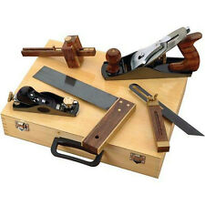 5 Pc Woodworking Tool Kit in Wooden Case: 2 Planes Tri-Square 2 Gauges D4063 New