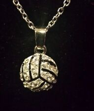 New Volleyball Rhinestone 1/2 inch Charm Necklace
