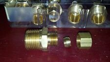 Brass Compression Tube Fitting, 3/8 O.D. COMPRESSION  x 3/8 N.P.T MALE