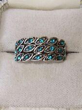 Vintage Unisex Silver Turquoise Rhinestone Ring Size 9