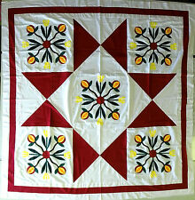 Hand Applique Pomegranates  / Ohio Star  QUILT TOP - Red & White