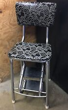 HTF Vintage Retro Kitchen Step Stool MCM Mid Century Black White Swirl Chrome