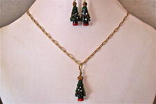 CHRISTMAS TREE NECKLACE & EARRINGS SET - CHARMING!