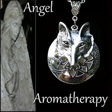 Essential Oil Diffuser Locket Necklace Silver Wolf Aromatherapy U.S. Seller