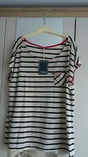 Women's new size 22 tshirt, cream with navy stripes and red inner detail