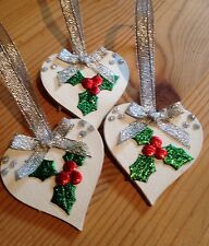 3 X Handmade Shabby Chic Christmas Decorations Holly Silver Bows