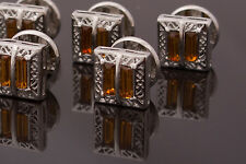Single Stud - silver colour openwork metal, decorated with amber