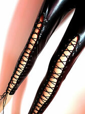 Sexy Wetlook Leder Leather Leggings Leggins mit Schnürung Gr. 34-38