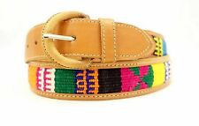 """Handmade Guatemalan Tooled Leather Woven Huipil Boho Mens/Womans Belt 40"""" inches"""