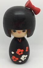 Vintage Japanese Wooden Kokeshi Doll, Collectible, Flowers & Ribbon (RF564)
