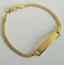 Solid 10k Yellow Gold Baby's children ID Bracelet Link 5.50 inches long