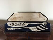 STUNNING VICTORIAN KINGS PATTERN 2 PIECE SILVER PLATED SERVING SET (M & N)