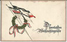 1. Weltkrieg, Patriotika, Weihnachten, patriotische Glückwunschkarte mit Fahne