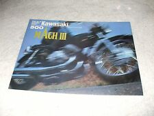 "Vintage 1971 Kawasaki 500 Mach III Sales Brochure ""Widow Maker"""