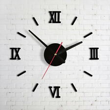 3D DIY Wall Clock Home Room Office Modern Decoration Mirror Surface Sticker US