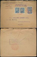 COLOMBIA 1923 BOXED GERMAN LANGUAGE SLOGAN...AIRMAIL in RED...RESTREPO ENV