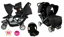 NEW GRACO OXFORD BLACK STADIUM DUO DOUBLE TANDEM TRAVEL SYSTEM TWIN STROLLER