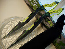 "Zombie Apocalypse Neon Flyers 2 Sword Machete Knife Set 440 SS W Sheath 26"" OA"