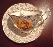 """COLLINGWOODS TEA CUP AND SAUCER YELLOW """"GOLDEN"""" ROSE & GOLD CHINTZ  TEACUP"""
