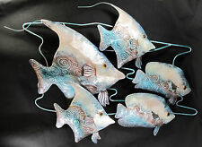 Tropical Fish School Capiz Finish hand made Metal Wall Art Home Decor