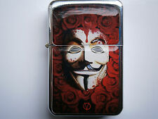 ANONYMOUS LEGION RED ROSES V VENDETTA BLOOD STAR LIGHTER & EXTRA ZIPPO FLINTS