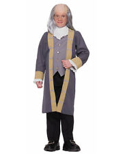 Ben Franklin Colonial Costume with Wig and Glasses Combo Child Size Md 8-10