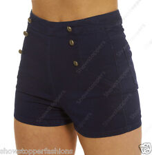 NEW HIGH WAIST SHORTS Ladies DENIM Stretch HIGH WAISTED HOTPANTS Size 8 10 12 14