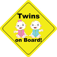 "Twins On Board Boy and Girl Smile Cute Baby Car Bumper Sticker Decal 5"" x 5"""