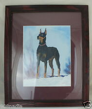 DOBERMAN PINCHER DOG PORTRAIT PENCIL & PASTEL SIGNED FRAMED