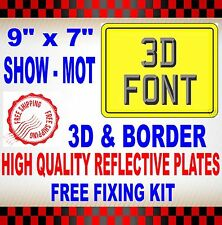 "MOTORCYCLE / MOTORBIKE NUMBER PLATES SHOW PLATES 9"" x 7"" PLAIN 3D WITH BORDER"