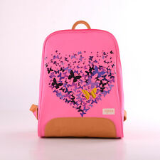 girl's pink, leather butterfly backpack, school bag (sylvia)
