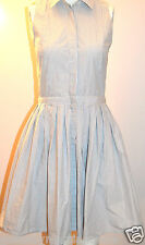 Armani Exchange A|X Shirtdress Striped Dress Shirt Pleated Skirt White Gray 2 XS