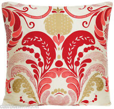 Fernery Cushion Cover Silk Fabric Osborne and Little Red Gold Printed