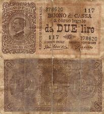 BUONO DI CASSA A CORSO LEGALE DA DUE LIRE Vittorio Emanuele III R.DECRETO 1914